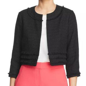 Karl Lagerfeld Frayed Tweed Cropped Jacket
